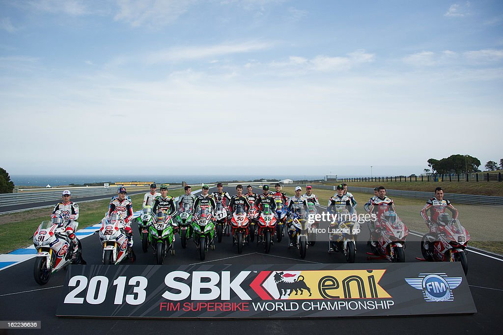 The Superbike riders pose on track during the ufficial photo during the round first of 2013 Superbike FIM World Championship at Phillip Island Grand Prix Circuit on February 21, 2013 in Phillip Island, Australia.