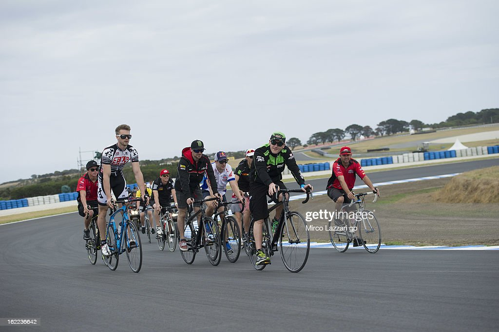 The Superbike riders ride on track during the event 'Track lap on bicycles' during the round first of 2013 Superbike FIM World Championship at Phillip Island Grand Prix Circuit on February 21, 2013 in Phillip Island, Australia.