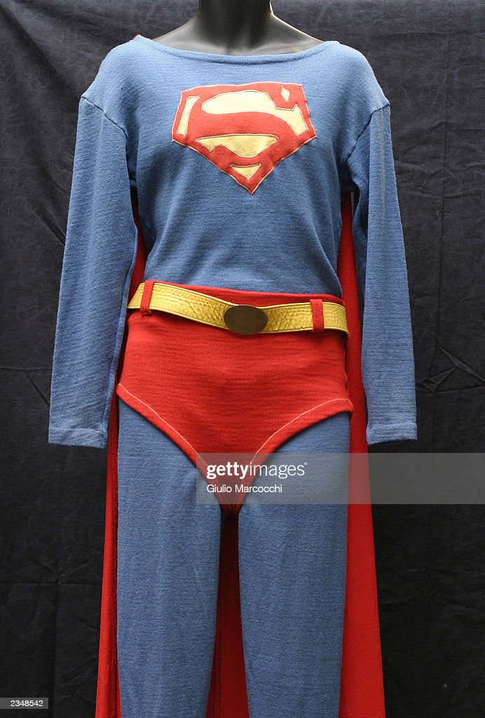 The Superman costume George Reeves wore in the '50s TV show is shown July 30, 2003 in Beverly Hills, California. Los Angeles-based Profiles in History will open bidding on 360 items July 31 on eBay.com.