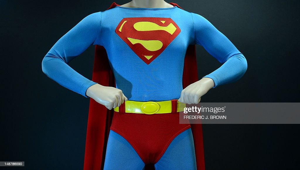 The Superman costume that was worn by Christopher Reeve in 'Superman: The Movie.' on display at Profiles In History in Calabasas, northwest of downtown Los Angeles, on July 19, 2012 in California, ahead of a public auction which begins on July 28. Auction house Profiles in History, the world's largest auctioneer and dealer of original Hollywood memorabila, will handle the sale of the celebrated Drier Collection, which due to its size, scope and significance, will take nearly two years and several auctions for all of the material to be offered. The Superman costume from the 1978 film is estimated between USD $60,000 - $80,000. AFP PHOTO/Frederic J. BROWN