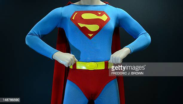 The Superman costume that was worn by Christopher Reeve in 'Superman The Movie' on display at Profiles In History in Calabasas northwest of downtown...
