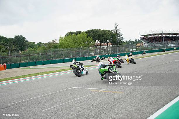 The Supersport riders round the bend during the Supersport race during the World Superbikes Race at Enzo Dino Ferrari Circuit on May 10 2015 in Imola...