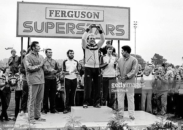 The Superstars awards John Sherwood with Geoff Hurst behind him Alan Minter Danny Nightingale champion Brian Jacks with JJ Williams behind him Steve...