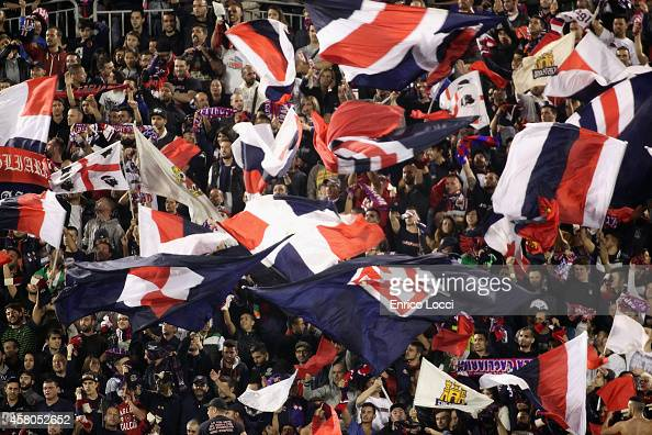 The supporters of Cagliari during the Serie A match between Cagliari Calcio and AC Milan at Stadio Sant'Elia on October 29 2014 in Cagliari Italy