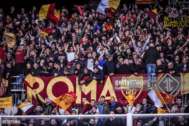 The supporters of Roma during the Italian Serie A football match Pescara vs Roma on April 24 in Pescara Italy