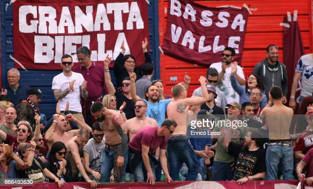 the supporters of Torino during the Serie A match between Cagliari Calcio and FC Torino at Stadio Sant'Elia on April 9 2017 in Cagliari Italy