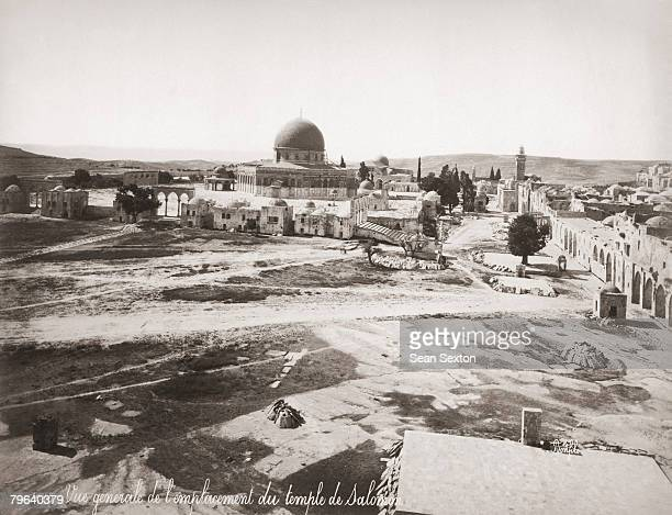 The supposed location of the former Temple of Solomon on Temple Mount Jerusalem with the Dome of the Rock behind it circa 1870