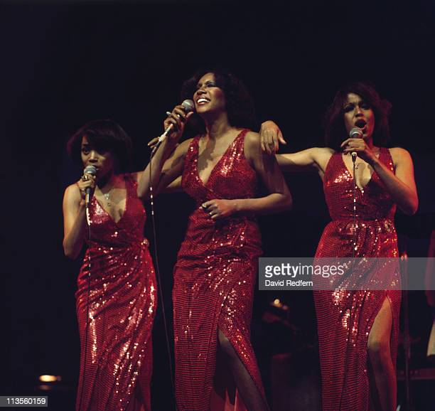The Supremes during a live concert performance at the New Victoria Theatre in London England Great Britain in April 1974