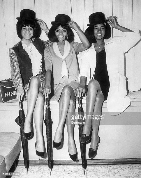 Florence Ballard Diana Ross and Mary Wilson tip their hats in a publicity photo from 1965