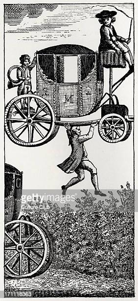 The Surprising Adventures of Baron Munchausen Original illustration from 1930 edition captioned Jumping the Hedge with the Carriage The Baron leaps...