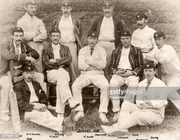 The Surrey County Cricket team circa 1888 Left to right back row Monty Bowden Kingsmill Key John Beaumont Henry Wood middle row Walter Read Maurice...