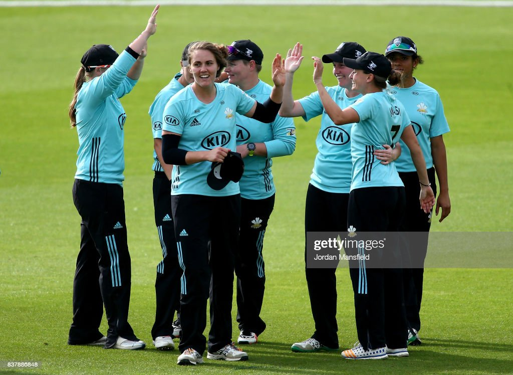 The Surrey Storm celebrate victory during the Kia Super League match between Surrey Stars and Western Storm at The Kia Oval on August 23, 2017 in London, England.