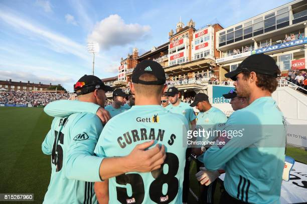 The Surrey team get into a huddle before they go out to field during the NatWest T20 Blast match between Surrey and Kent at The Kia Oval on July 14...