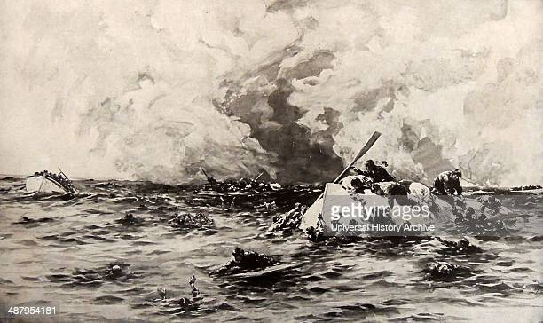 The survivors of the Lusitania cling to lifeboats RMS Lusitania was a British ocean liner holder of the Blue Riband and briefly the world's biggest...