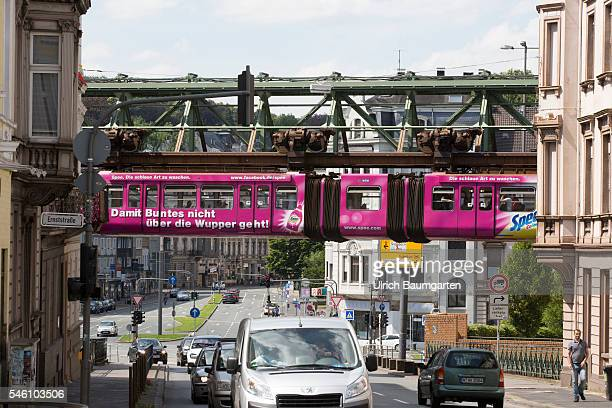 The suspension railway symbol of the city at the river Wupper