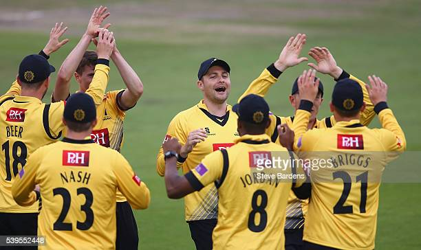 The Sussex players celebrate the wicket of Brendon McCullum of Middlesex bowled by George Garton and caught by Danny Briggs during the Royal London...