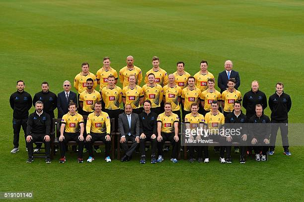 The Sussex squad poses for a team photo in the Royal London OneDay Cup outfit during the Sussex Media Day at the County Ground on April 4 2016 in...
