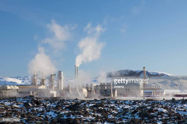 The Svartsengi Power Station geothermal power plant in the Svartsengi geothermal field near Grindavik Iceland