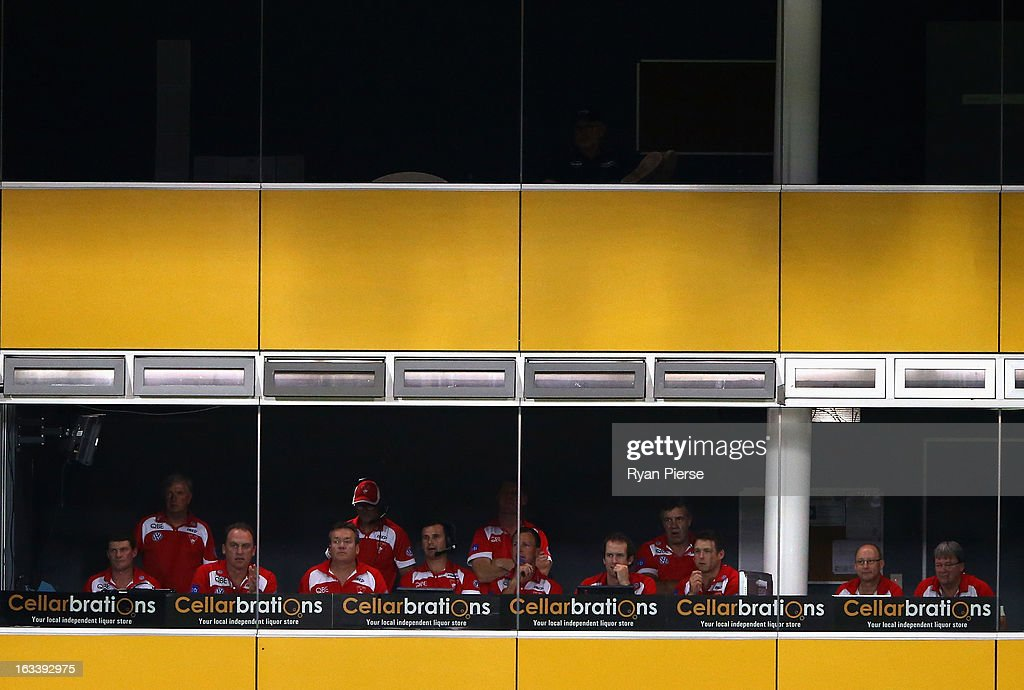 The Swans coaches box is seen during the round three NAB Cup AFL match between the Sydney Swans and the Gold Coast Suns at Blacktown International Sportspark on March 9, 2013 in Sydney, Australia.