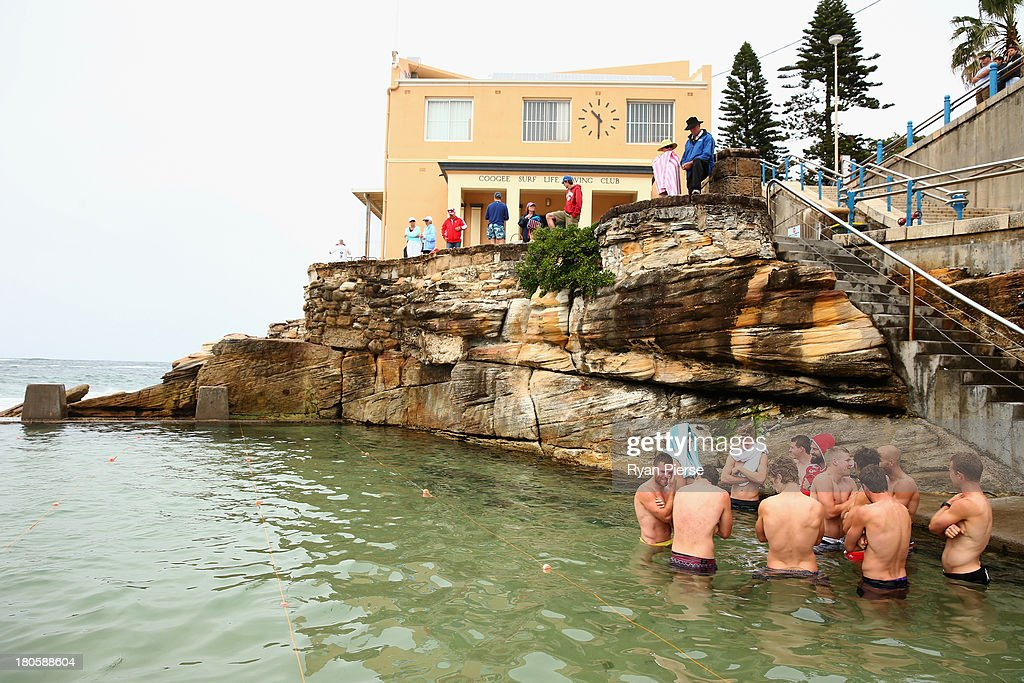 The Swans swim in an ocean pool during a recovery session at Coogee Beach on September 15, 2013 in Sydney, Australia.