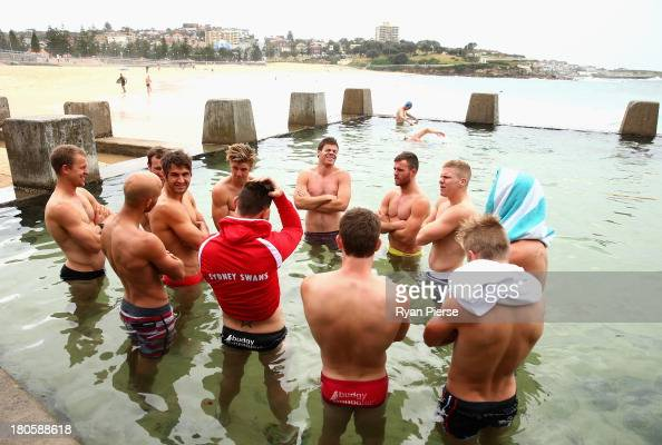 The Swans swim in an ocean pool during a recovery session at Coogee Beach on September 15 2013 in Sydney Australia