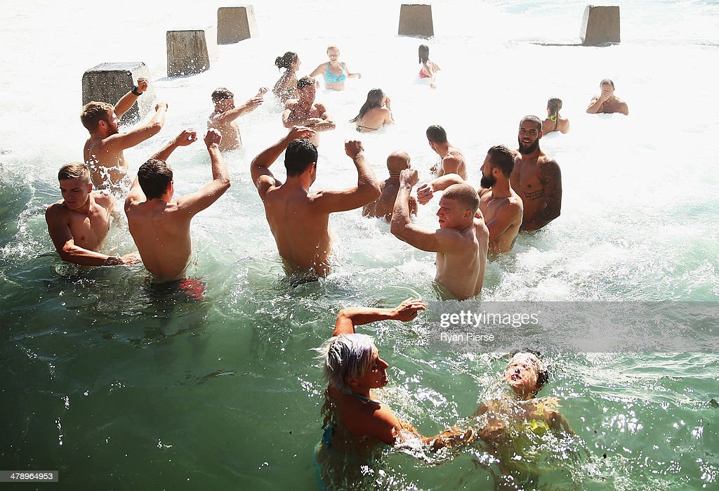 The Swans swim in an ocean pool during a Sydney Swans AFL recovery session at Coogee Beach on March 16, 2014 in Sydney, Australia.