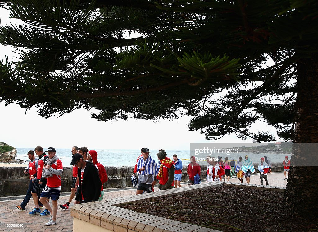 The Swans walk to the ocean pool during a recovery session at Coogee Beach on September 15, 2013 in Sydney, Australia.