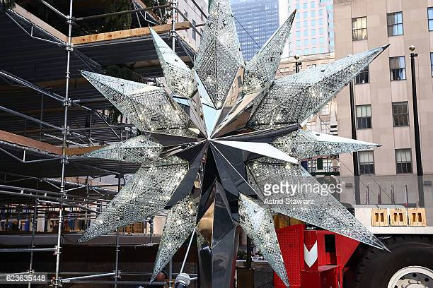 The Swarovski Star is displayed before being raised on top of the Rockefeller Center Christmas Tree on November 16 2016 in New York City
