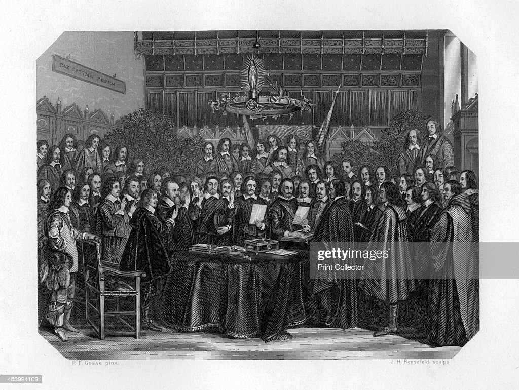 The swearing of the oath of ratification of the treaty of Münster 1648 The signing of the Treaty of Munster brought an end to the Eighty Years War...