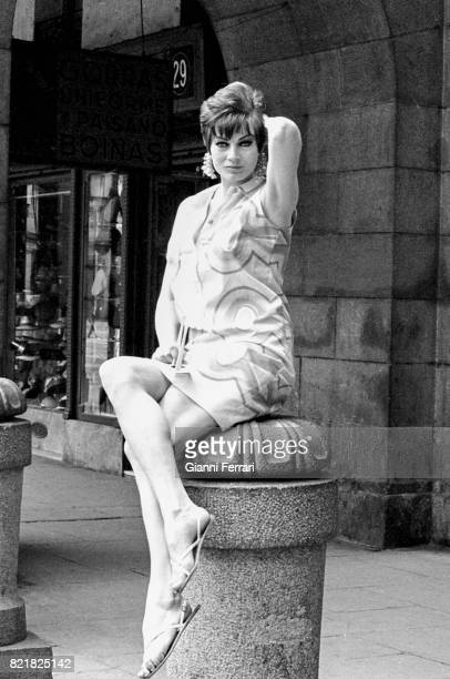 The Swedish actress Anita Ekberg in the 'Plaza Mayor' of Madrid for a Photo Shoot Spain