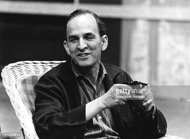 The Swedish director Ingmar Bergman sitting at the table 1971
