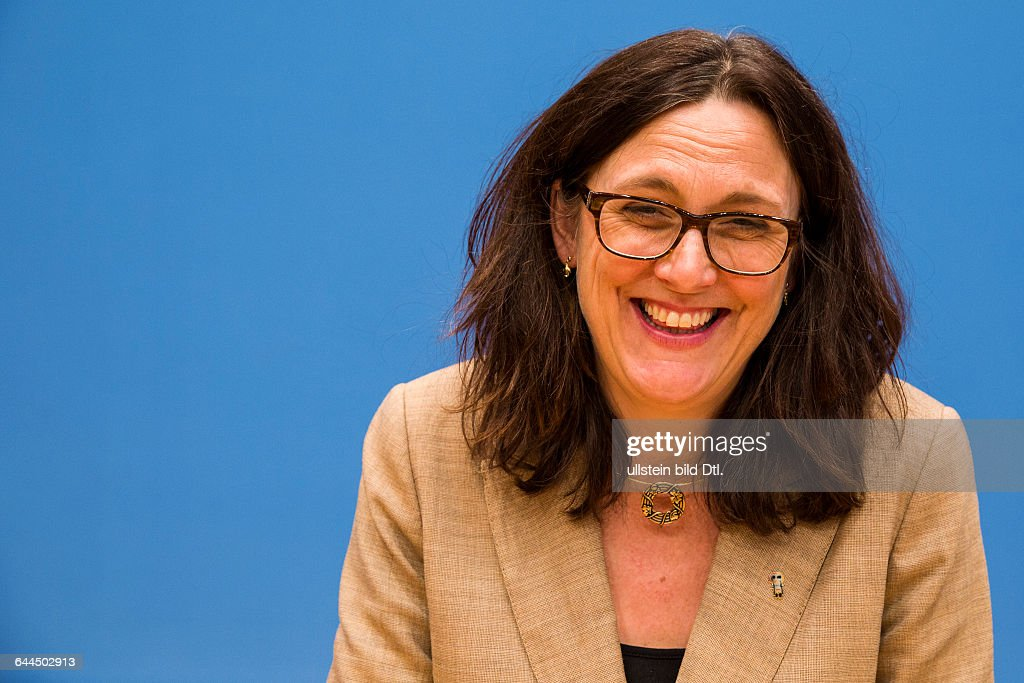 The Swedish EU Trade Commissioner Cecilia Malmström - responsible for the Free Trade Agreement with Canada (Ceta) and the USA (TTIP) - speaks on February 23, 2015, at the House of the Federal Press Berlin about the chances of a Transatlantic Trade and Investment Partnership (TTIP) especially for Germany. Her different mimics are particularly emphasized during the press conference.