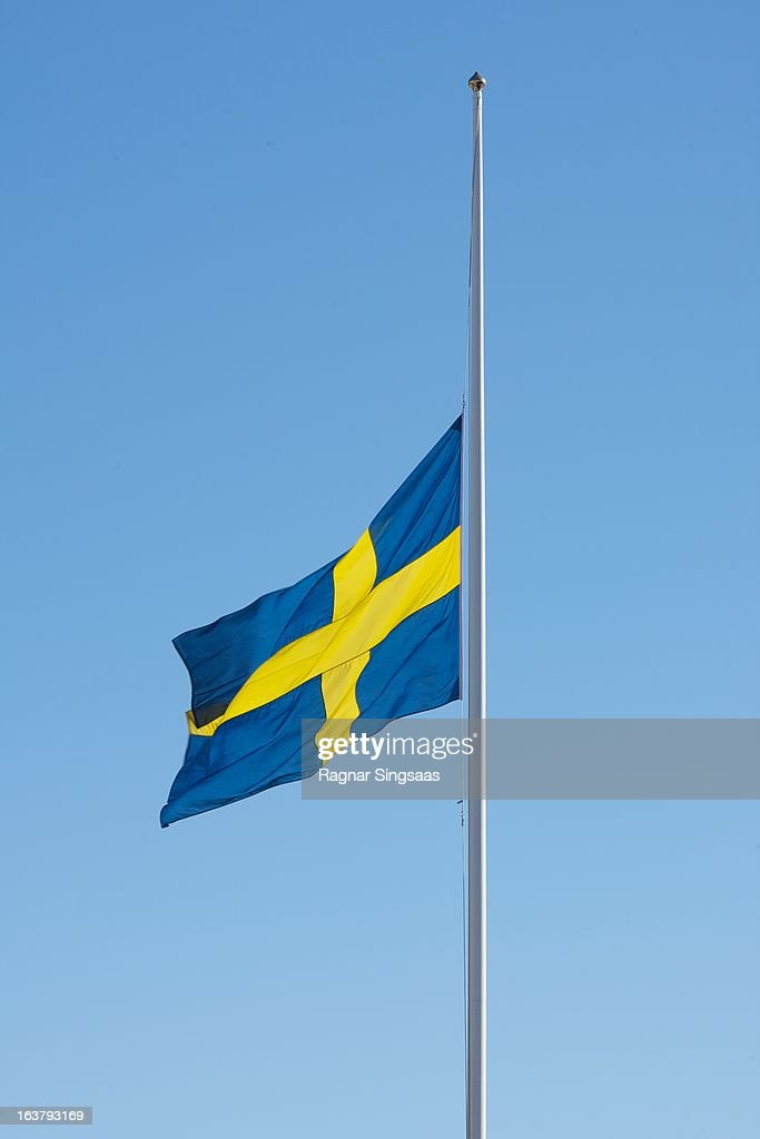 . The Swedish flag fly at half mast at the Royal Palace during the funeral of Princess Lilian Of Sweden on March 16, 2013 in Stockholm, Sweden.