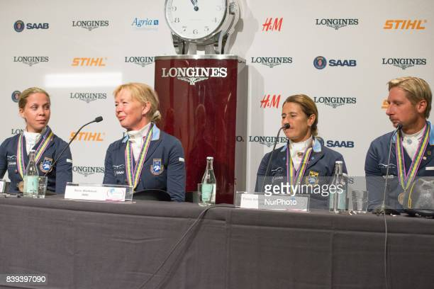 The Swedish national team for dressage meets the press after winning the bronze medal in the team dressage competition of the 2017 FEI European...