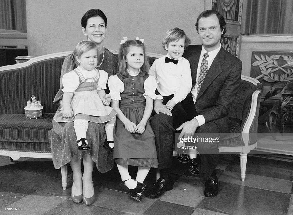 The Swedish Royal Family pose for the annual Christmas photograph at home in Drottningholm Palace , Sweden, 14th December 1983. L - R; Queen Silvia of Sweden, Princess Madeleine of Sweden, Crown Princess Victoria of Sweden, Prince Carl Philip of Sweden, Carl Gustaf XVI.