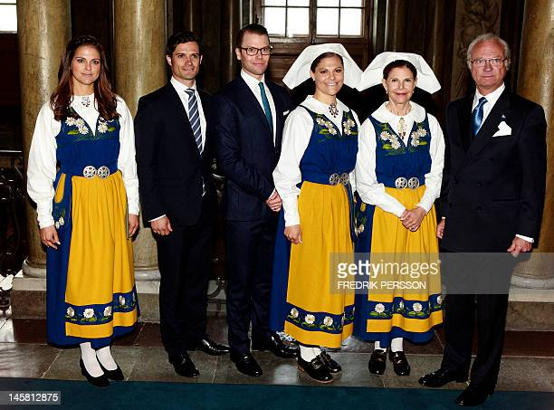 The Swedish Royal family Princess Madeleine Prince Carl Philip Prince Daniel Crown Princess Victoria Queen Silvia and King Carl XVI Gustaf pose...