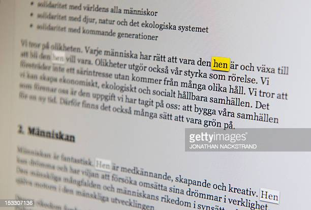 The Swedish word 'Hen' is marked on a computer monitor on October 3 2012 in Stockholm 'Hen' a genderneutral pronoun has been adopted by Sweden third...