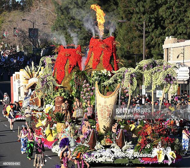 The Sweepstakes Trophy winner sponsored by Hawaii is displayed on the parade route during 126th Rose Parade Presented by Honda on January 1 2015 in...