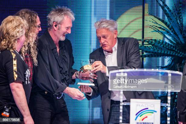 The Sweet is awarded by Max Moor during the Radio Regenbogen Award 2017 at Europapark on April 7 2017 in Rust Germany