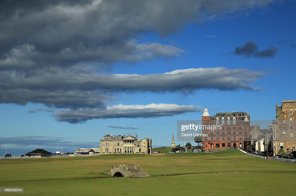 The Swilcab Bridge on the par 4, 18th hole 'Tom Morris' on the Old Course at St Andrews venue for The Open Championship in 2015, on July 29, 2014 in St Andrews, Scotland.