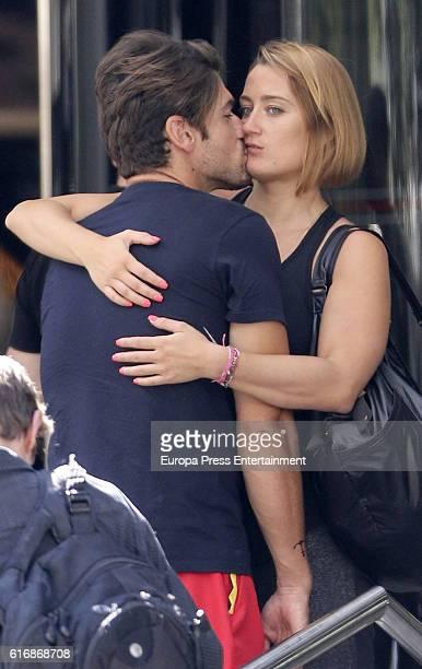 The swimmer Mireia Belmonte and canoeist Javier Hernanz are seen on September 28 2016 in Madrid Spain