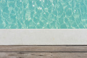 the wooden deck with swimming pool texture