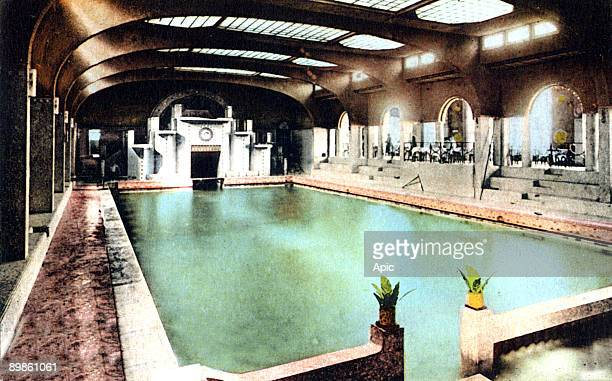 the swimming pool in Dinard in Brittany France postcard in the 20's
