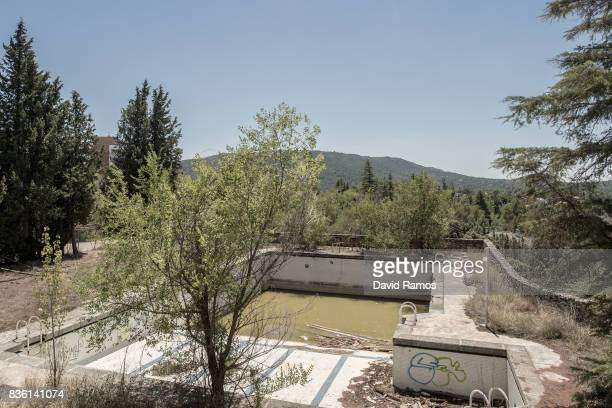 The swimming pool of the abandoned Hotel Las Anclas is seen in the Las Anclas estate on the Entrepenas reservoir side second largest water reservoir...