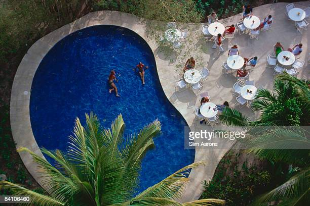 The swimming pool of the Hotel Camino Real in the resort city of Puerto Vallarta Jalisco Mexico April 1979