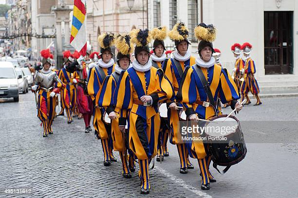 The Swiss Guard preparing for the Oath of new recruits The guards walk on a parade Vatican City 6th May 2015