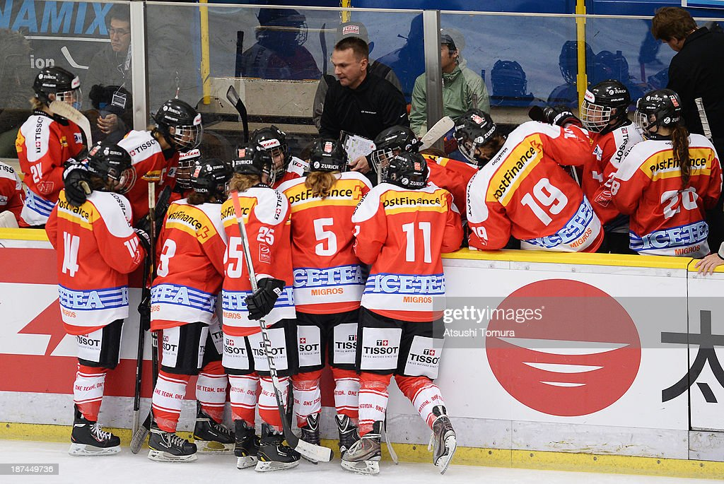 The Swiss players listen to Coach Rene Kammerer after a time out is called in the match between Japan and Switzerland during day three of the Ice Hockey Women's 5 Nations Tournament at the Shin Yokohama Skate Center on November 9, 2013 in Yokohama, Japan.