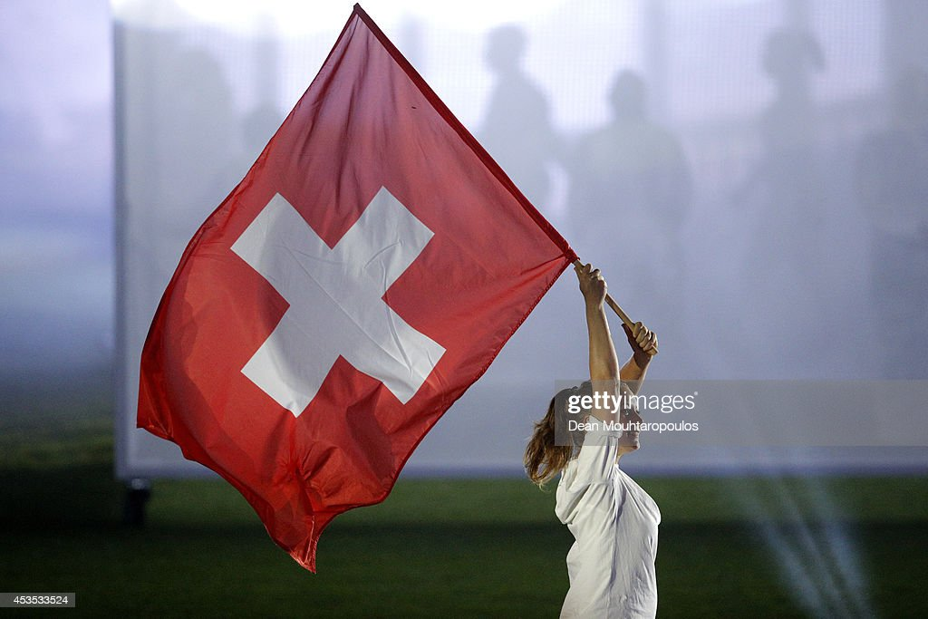 The Switzerland flag is displayed at the opening ceremony during day one of the 22nd European Athletics Championships at Stadium Letzigrund on August 12, 2014 in Zurich, Switzerland.