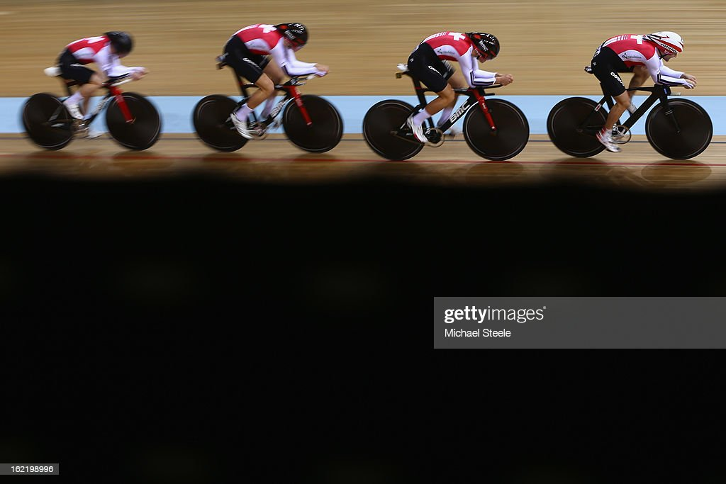 The Switzerland men's team pursuit of Loic Perizzolo,Stefan Kueng,Silvan Dillier and Cyrille Thiery during heats on day one of the UCI Track World Championships at Minsk Arena on February 20, 2013 in Minsk, Belarus.