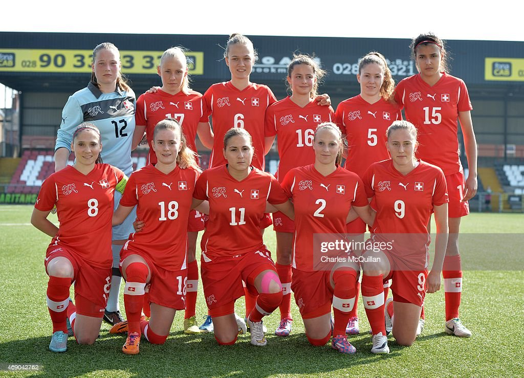 The Switzerland starting eleven before the UEFA U19 Women's Qualifier between England and Switzerland at Seaview on April 9, 2015 in Belfast, Northern Ireland.